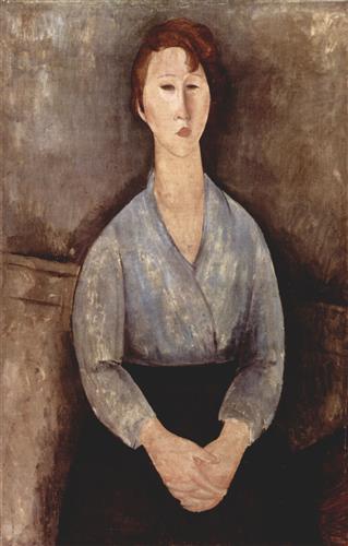 Плакат Sitzende Frau mit blauer Bluse