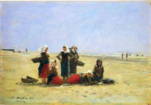 Плакат Women on the Beach at Berck