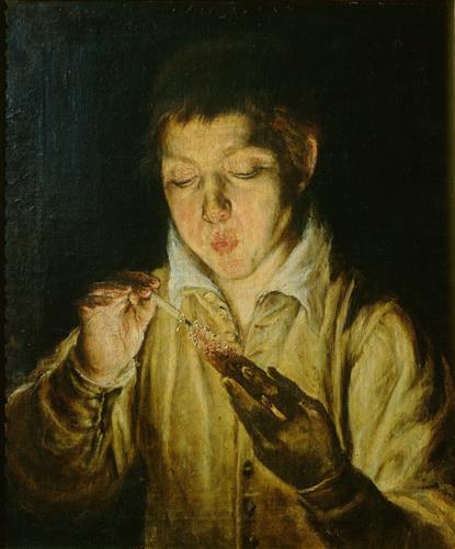 Постер на подрамнике A Boy Blowing on an Ember to Light a Candle