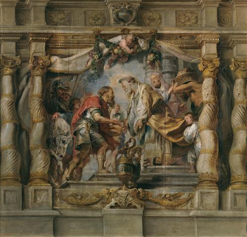 Постер на подрамнике Abraham ofrece el diezmo a Melquisedec