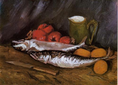 Постер на подрамнике Still Life with fish and tomatoes