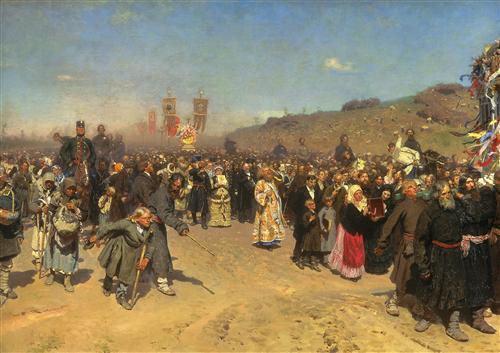 Плакат Крестный ход в Курской губернии
