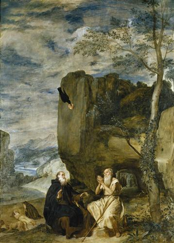Плакат Saint Anthony the Abbot and Saint Paul theFirst Hermit