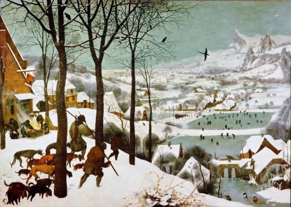 Плакат Охотники на снегу