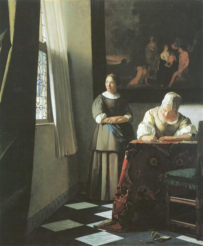 Постер на подрамнике Lady writing a letter with her maid