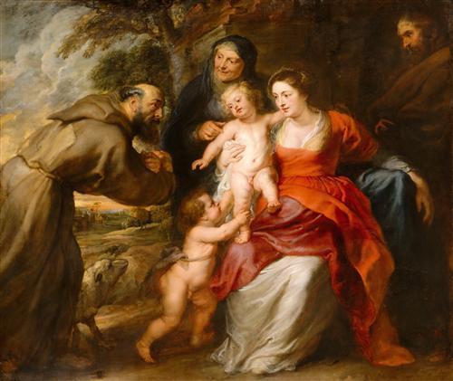 Плакат Святое семейство со святыми Франциском и Анной и младенцем св. Иоанном Крестителем