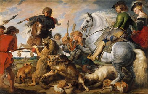 Плакат Охота на волка и лису