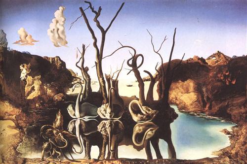 Постер на подрамнике Лебеди, отражающиеся в слонах