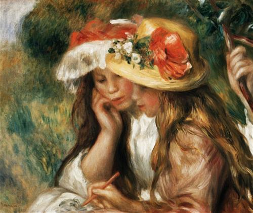 Постер на подрамнике Two girls reading in a garden