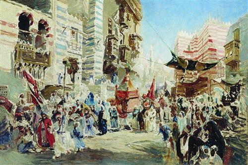 Постер на подрамнике Эскиз к картине Перенесение священного ковра из Мекки в Каир