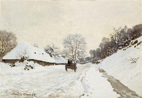 Плакат A Cart on the Snowy Road at Honfleu