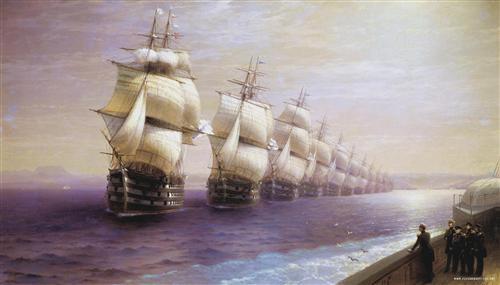 Постер на подрамнике Парад Черноморского флота в 1849 г.