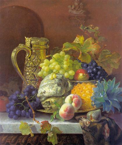 Постер на подрамнике Fruits on a tray with a silver flagon on a marble ledge
