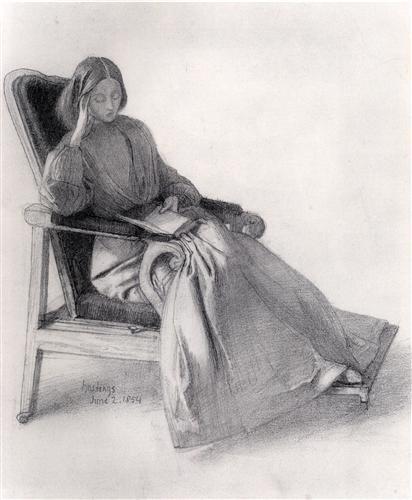 Плакат Portrait of Elizabeth Siddal, Reading