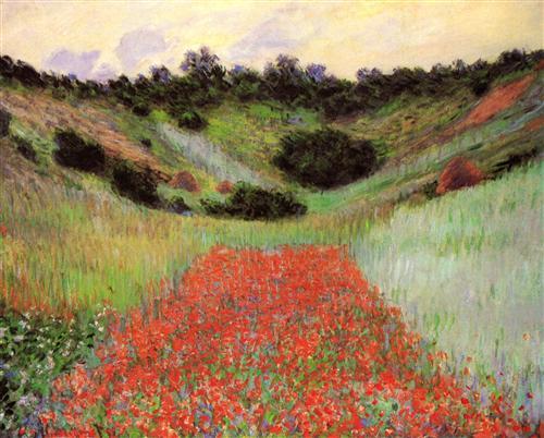 Постер на подрамнике Poppy Field of Flowers in a Valley at Giverny