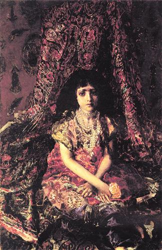 Плакат Portrait of a Girl against a Persian Carpet