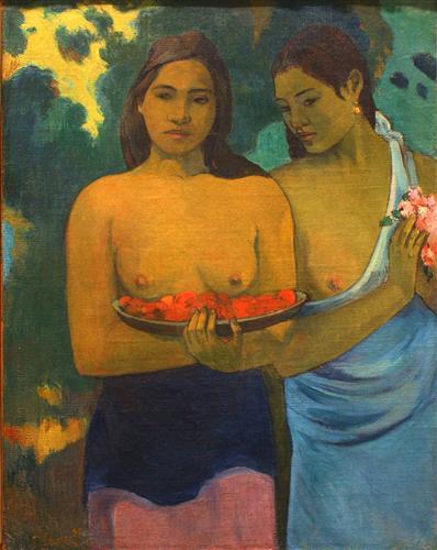 Постер на подрамнике Les Seins aux Fleurs Rouges, ou Deux Tahitiannnes (aux fleurs de mango)
