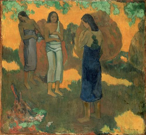 Постер на подрамнике Three Tahitian Women Against a Yellow Background