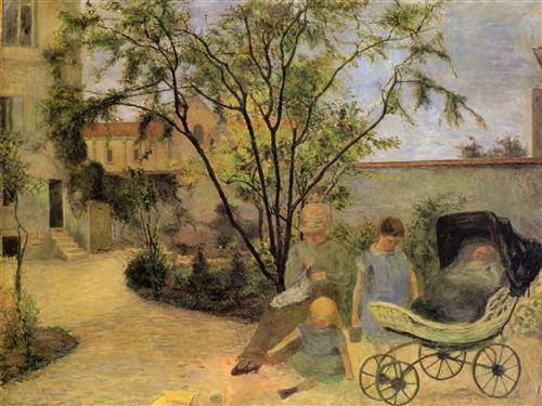 Постер на подрамнике La famille du peintre au jardin, rue Carcel