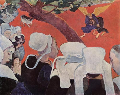 Постер на подрамнике La Vision apres le Sermon (La Lutte de Jacob avec l'Ange)