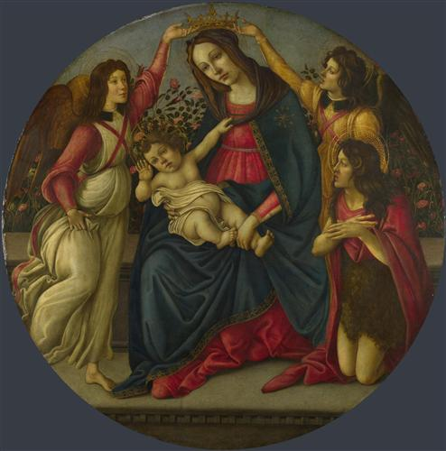 Плакат The Virgin and Child with Saint John and Two Angels