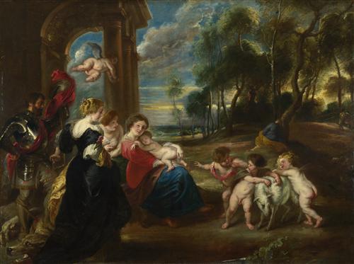 Постер на подрамнике The Holy Family with Saints in a Landscape