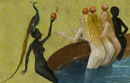 Плакат The Garden of Earthly Delights, center panel (Detail women with peacock)
