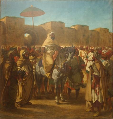 Плакат Maulay abd-er-Rahman, sultan du Maroc, sortant de son palais de Maknes, entoure de sa garde et de ses principaux officiers