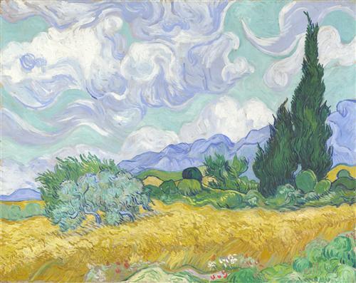 Постер на подрамнике A Wheatfield with Cypresses