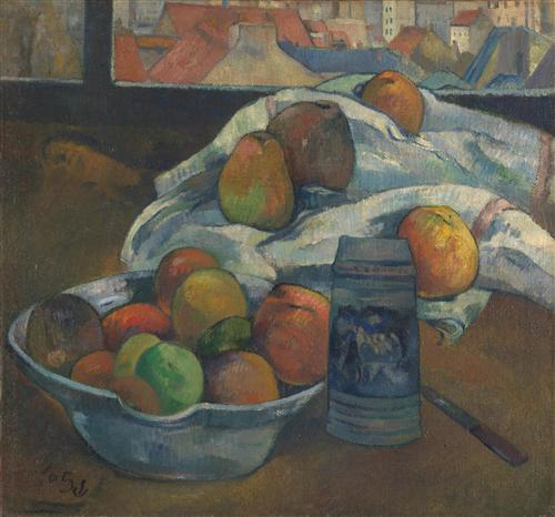 Плакат Bowl of Fruit and Tankard before a Window