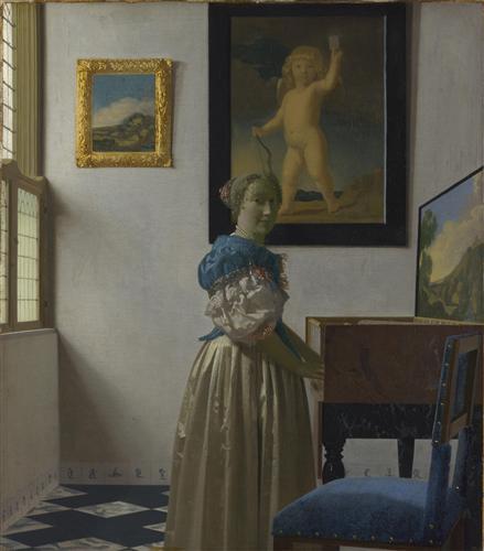 Постер на подрамнике A Young Woman standing at a Virginal