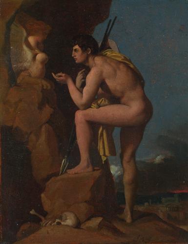 Постер на подрамнике Oedipus and the Sphinx