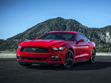 Постер на подрамнике Красный Мустанг (Ford Mustang)