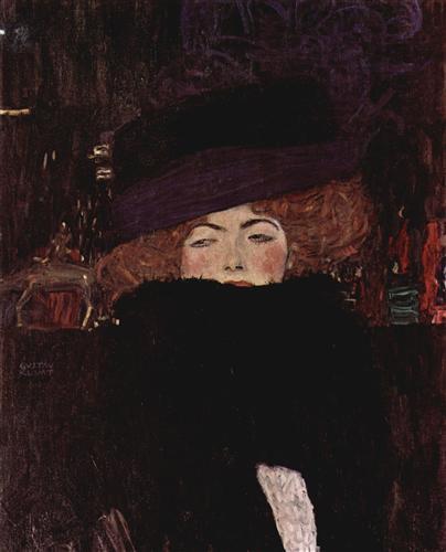Постер на подрамнике Dame mit Hut und Federboa