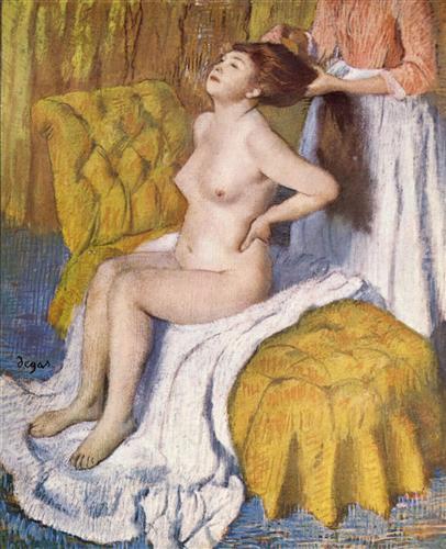 Плакат Woman Having Her Hair Combed