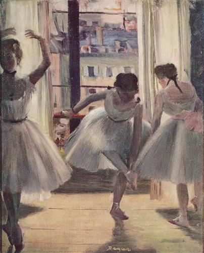 Постер на подрамнике Drei Tanzerinnen in einem Ubungssaal