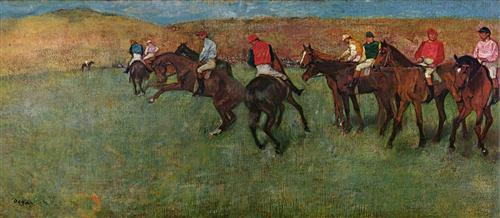 Постер на подрамнике Pferderennen vor dem Start