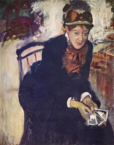 Постер на подрамнике Portrat der Miss Cassatt, die Karten haltend