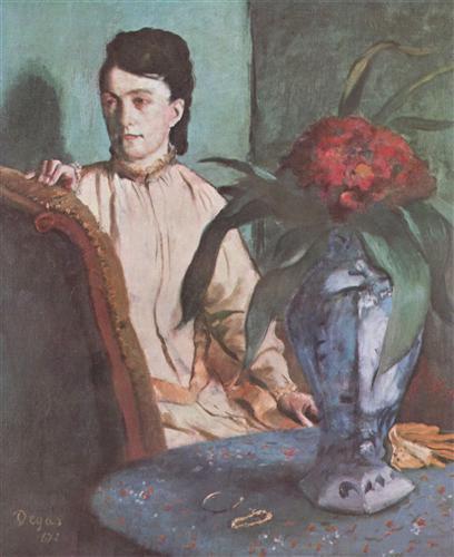 Постер на подрамнике Sitzende Frau mit der Vase (Portrat der Mlle. E. Musson)