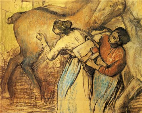 Постер на подрамнике Blanchisseuses et cheval
