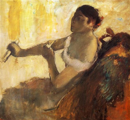 Постер на подрамнике Femme assise tirant son gant, jeune femme assise mettant ses gants
