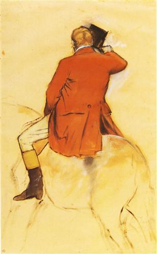 Постер на подрамнике Cavalier en Habit rouge  Pinceau et lavis sepia