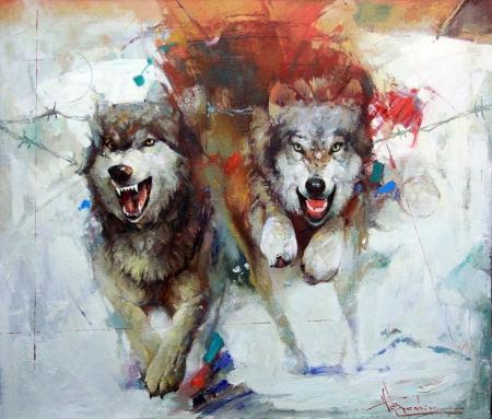 Лайтбокс Волки
