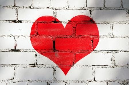 Постер на подрамнике Сердце на кирпичной стене
