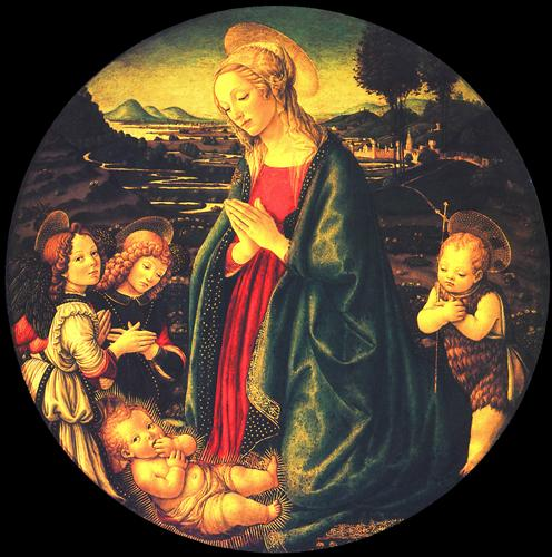 Плакат Virgin adoring the child, surrounded by St. John the Baptist and two angels