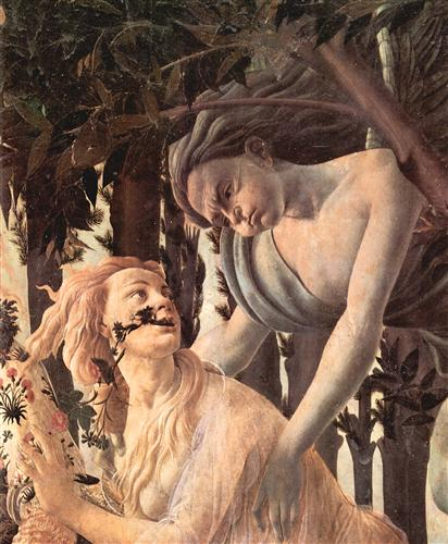 Плакат Spring Primavera (detail Nymphe Chloris becomes from zephir, which God of the wind pursues)