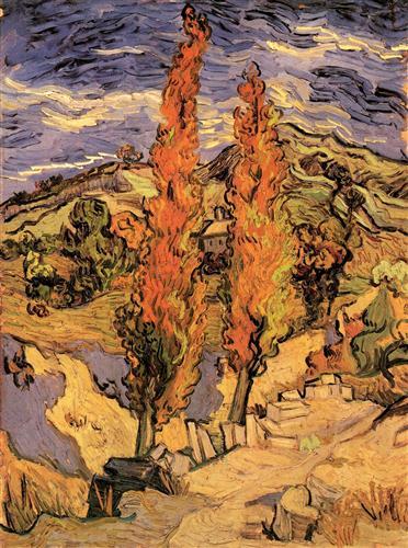 Постер на подрамнике Two Poplars on a Road Through the Hills
