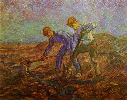 Постер на подрамнике Two Peasants Digging