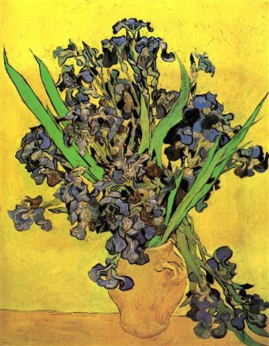 Постер на подрамнике Still Life Vase with Irises Against a Yellow Background