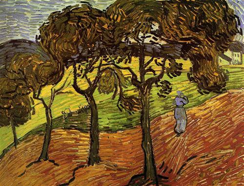 Постер на подрамнике Landscape with Trees and Figures